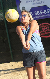Candace H. Johnson-For Shaw Media Tiffany Bachmann, of Cary with the That's What She Set team passes the ball against the Sandy Balls family team during the recreational volleyball game at Sideouts Sports Tavern in Island Lake.That's What She Set won 21-14, 21-13, 21-14. (6/24/18)