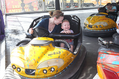 Candace H. Johnson-For Shaw Media Tammy Flynn, of Wauconda and her son, Joseph, 3, enjoy the bumper cars during Wauconda Fest at Cook Park in Wauconda. This was Joseph's first amusement park ride.(6/23/18)