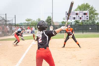 Huntley's Reese Hunkins hits a deep single scoring Marley Reicher for walk-off win against Huntley in the Class 4A Hampshire Sectional Championship game Saturday, June 1, 2019 in Hampshire. Huntley gets the 4-3 win and advances to the Super-Sectionals. KKoontz – For Shaw Media