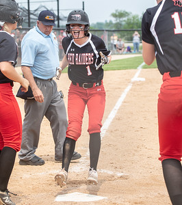 Huntley's Marley Reicher scores on base hit from Resse Hinkins to win the game 4-3 in the bottom of the seventh inning against McHenry at the Class 4A Hampshire Sectional Championship game Saturday, June 1, 2019 in Hampshire. Huntley advances to the Super-Sectionals. KKoontz – For Shaw Media