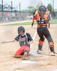 Huntley's Marley Reicher slides across the plate in the bottom of the third to tie the game against McHenry in the Class 4A Hampshire Sectional Championship game Saturday, June 1, 2019 in Hampshire. Huntley gets the 4-3 win and advances to the Super-Sectionals. KKoontz – For Shaw Media
