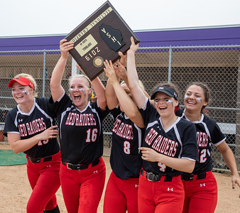 Huntley seniors (L-R) Grace Kutz, Courtney Mills, Sofia Tenuta, Taylor Zielinski, and Kendra Mitchell, celebrate their 4-3 victory over McHenry at the Class 4A Hampshire Sectional Championship game Saturday, June 1, 2019 in Hampshire. Huntley advances to the Super-Sectionals. KKoontz – For Shaw Media