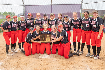 Huntley celebrate their 4-3 victory over McHenry at the Class 4A Hampshire Sectional Championship game Saturday, June 1, 2019 in Hampshire. Huntley advances to the Super-Sectionals. KKoontz – For Shaw Media