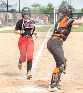 Huntley's Taylor Zielinski crosses the plate in the bottom of the third to put the Red Raiders up 2-1 against McHenry in the Class 4A Hampshire Sectional Championship game Saturday, June 1, 2019 in Hampshire. Huntley gets the 4-3 win and advances to the Super-Sectionals. KKoontz – For Shaw Media