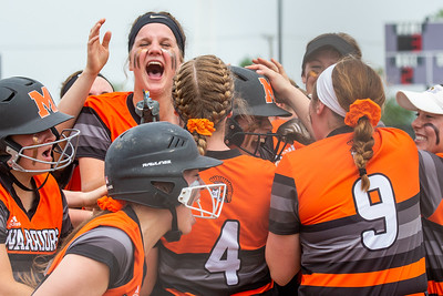 McHenry's Kate Funk celebrates with teammates after connecting on a two-run homer and to tie the game 3-3 against Huntley in the Class 4A Hampshire Sectional Championship game Saturday, June 1, 2019 in Hampshire. Huntley gets the 4-3 win and advances to the Super-Sectionals. KKoontz – For Shaw Media