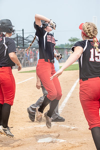 Huntley's Marley Reicher celebrates scoring the winning run on a base hit from Resse Hinkins to win the game 4-3 in the bottom of the seventh inning against McHenry at the Class 4A Hampshire Sectional Championship game Saturday, June 1, 2019 in Hampshire. Huntley advances to the Super-Sectionals. KKoontz – For Shaw Media