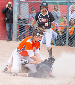 Huntley's Taylor Zielinski slides under the tag of Hersey pitcher Sarah Bailitz Monday, June 3, 2019 in the Class 4A Super-Sectionals Monday, June 3, 2019 in Barrington. Huntley wins 3-1 and advances to the State Semifinals in East Peoria. KKoontz – For Shaw Media