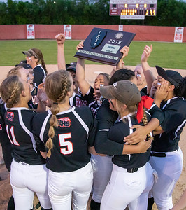 The Huntley softball team celebrates their 3-1 victory over Hersey in the Class 4A Super-Sectionals Monday, June 3, 2019 in Barrington. Huntley advances to the State Semifinals in East Peoria. KKoontz – For Shaw Media