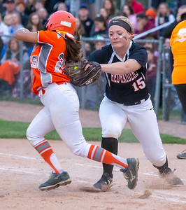 Huntley's Grace Kutz puts the tag on Hersey's Ria Patel Monday, June 3, 2019 in the Class 4A Super-Sectionals Monday, June 3, 2019 in Barrington. Huntley wins 3-1 and advances to the State Semifinals in East Peoria. KKoontz – For Shaw Media