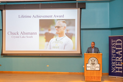 The Norwest Herald 2019 Lifetime Achievement Award winner Chuck Ahsmann from Crystal Lake South High School speaks at the 2019 McHenry County Most Valuable Athletes Awards ceremony Wednesday, June 5, 2019 at McHenry County College in Crystal Lake. KKoontz- for Shaw Media