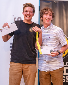 Boy's tennis players Jared Arkel (left) and Max Kueller (right) from Prairie Ridge High School pose for a photo after being selected as the 2019 Northwest Herald's Boys Tennis Players of the Year at the 2019 McHenry County Most Valuable Athletes Awards ceremony Wednesday, June 5, 2019 at McHenry County College in Crystal Lake. KKoontz- for Shaw Media