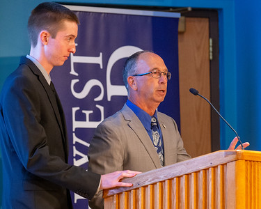Northwest Herald sports writers Sean Hammond (Left) and Joe Stevenson (right) host the 2019 McHenry County Most Valuable Athletes Awards ceremony Wednesday, June 5, 2019 at McHenry County College in Crystal Lake. KKoontz- for Shaw Media