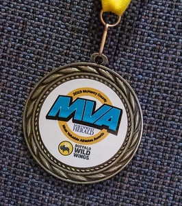 A medal hangs on a seat at the 2019 McHenry County Most Valuable Athletes Awards ceremony Wednesday, June 5, 2019 at McHenry County College in Crystal Lake. KKoontz- for Shaw Media