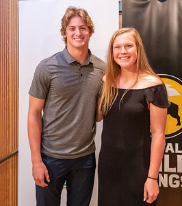 Cary-Grove's Quinn Priester and Richmond-Burton's Hannah Ritter poses for a photo after being selected as the 2019 Male and Female Athletes of the Year at the 2019 Northwest Herald McHenry County Most Valuable Athletes Awards ceremony Wednesday, June 5, 2019 at McHenry County College in Crystal Lake. KKoontz- for Shaw Media