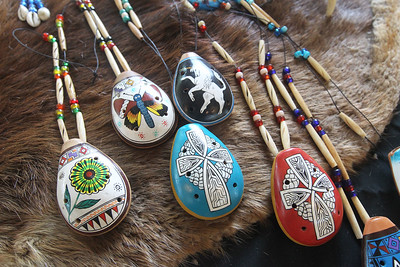Candace H. Johnson-For Shaw Media Ocarina clay flutes were for sale from Oktalonli Traders during the Native American Arts & Crafts Fair at the Antioch-Lake Villa Township Center in Lake Villa. The event was to help raise funds for the 26th Annual Pow Wow Potawatomi Trails Traditional Social taking place in Zion at Shiloh Park on Aug. 24th-25th. (6/1/19)