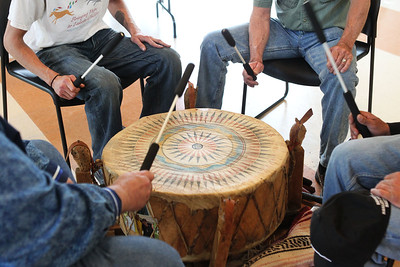Candace H. Johnson-For Shaw Media The Moonshadow Singers beat a sacred drum as they sing Native American songs during the Native American Arts & Crafts Fair at the Antioch-Lake Villa Township Center in Lake Villa. The event was to help raise funds for the 26th Annual Pow Wow Potawatomi Trails Traditional Social taking place in Zion at Shiloh Park on Aug. 24th-25th. (6/1/19)