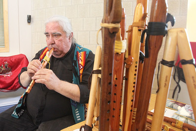 Candace H. Johnson-For Shaw Media William Buchholtz Allison, of Chicago plays one of his original Native American songs with a wood flute during the Native American Arts & Crafts Fair at the Antioch-Lake Villa Township Center in Lake Villa. Allison was selling CD's of his music. The event was to help raise funds for the 26th Annual Pow Wow Potawatomi Trails Traditional Social taking place in Zion at Shiloh Park on Aug. 24th-25th. (6/1/19)