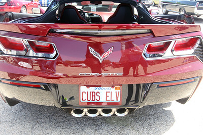 Candace H. Johnson-For Shaw Media A license plate Cubs Elv sits on a 2016 Corvette owned by Renn Jachimowski, of Antioch during the Lambs Farm Champion Car Show in Libertyville. Jachimowski says his wife, Sandy, gets the plate honoring the Chicago Cubs and Elvis Presley and he gets the car. (6/2/19)