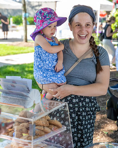 Ryann Goulet and daughter Therese (1-1/2 yrs) from Crystal Lake shop for some sweets at Rosie's Gluten Free Sweets during the Downtown Crystal Lake Farmers Market Saturday, June 8, 2019 in Crystal Lake.  KKoontz – For Shaw Media