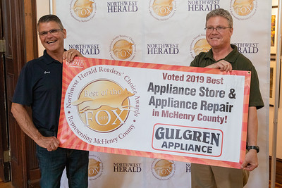 Mike Gulgren (right) and Greg Danielson (Left) from Gulgren Appliance in Crystal Lake pick up their 2019 Best of the Fox Award Thursday, June 13, 2019 in Crystal Lake. KKoontz – For Shaw Media