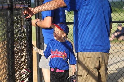 Candace H. Johnson-For Shaw Media Jayhawks Makayla Rowe checks her position before getting on the field as her team plays the Hurricanes during the Grayslake Park District's in-house softball league game for grades 1st-3rd at Alleghany Park in Grayslake.  (6/11/19)