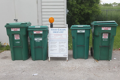 Candace H. Johnson-For Shaw Media People can drop off food waste and put them in the Food Scraps Drop-Off containers at the Grayslake Recycling Center on Berry Avenue in Grayslake. (6/11/19)