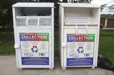 Candace H. Johnson-For Shaw Media People can drop off their clothes and put them in the Clothing & Textile Collection recycling bins at the Grayslake Recycling Center on Berry Avenue in Grayslake. Over 300,000 lbs. of clothing and textiles were collected last year by SWALCO in Lake County. (6/12/19)