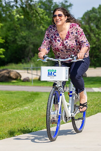Meredith Schaeffer takes a spin along the McHenry County trails on a Zagster bike Friday, June 14, 2019 in McHenry. McHenry County, along with Zagster, launched its new county wide bike share program at the McHenry Recreation Center.  KKoontz- For Shaw Media