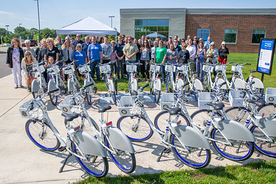 County residents, business leaders, and politicians, attend the launch of the new county wide bike share program Friday, June 14, 2019 at the McHenry Recreation Center in McHenry.  KKoontz- For Shaw Media