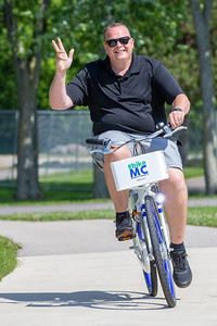 City of McHenry Mayor Wayne Jett takes a ride on a new Zagster bicycle Friday, June 14, 2019 in McHenry. McHenry County, along with Zagster, launched its new county wide bike share program at the McHenry Recreation Center.  KKoontz- For Shaw Media