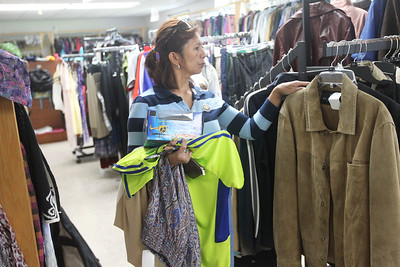 Candace H. Johnson-For Shaw Media Marilyn Hendricks, of Fox Lake checks out the clothes for sale at the Joyful Spirit United Methodist Church's Joyful Abundance Resale Shop in Ingleside. The resale shop is open every Friday and Saturday from 9 a.m. to 1:00 p.m. (6/16/19)