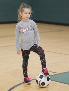 Candace H. Johnson-For Shaw Media Sarah Goodall, 5, of Port Barrington traps the ball during 5 Star Pee Wee Soccer for 4-6 year-olds at the Wauconda Park District Community Center. (6/16/19)