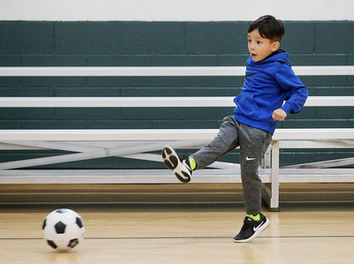 Candace H. Johnson-For Shaw Media Noah Camargo, 4, of Island Lake aims for the goal during 5 Star Pee Wee Soccer for 4-6 year-olds at the Wauconda Park District Community Center. (6/16/19)