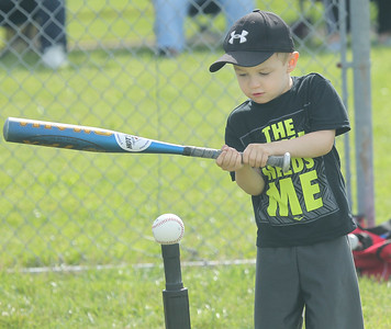 Candace H. Johnson-For Shaw Media Bryden Schaffer, 4, of Antioch takes a swing as he learns hitting during the Antioch Parks and Recreation Hot Shots Sports T-Ball at Trevor Creek Park in Antioch. (6/22/19)