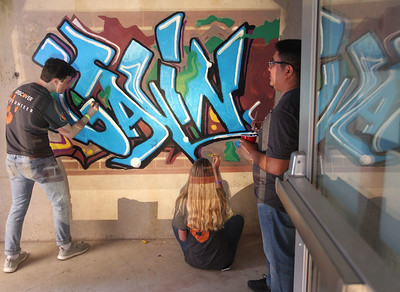 "Candace H. Johnson-For Shaw Media Erik Larson, of La Grange Park, Lauren Arnold, of Oswego and Francisco Ramirez Cruz, of Bolingbrook work on painting graffiti that says, ""Gavin,"" on a wall with a projection in a stairwell during the Discover Business Technology and Volunteer Day at Gavin South Middle School in Ingleside. Over 500 volunteers from Discover Financial Services came to Gavin South to help at the event. (6/20/19)"