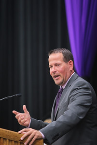 Michelle LaVigne/ For Shaw Media McHenry County College 1989 alumni Derik Morefield of Woodstock delvers a speech to the incoming graduates of 2015 during Spring Commencement at McHenry County College in Crystal Lake on Saturday, May 16, 2015. Morefield was one of the three recipients of MCC's 2015 Distinguished Alumi Award.