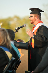 Michelle LaVigne/ For Shaw Media Matthew Korus delivers the Honors Address during the McHenry High School-East Campus Commencement in McHenry on Thursday, May 21, 2015.