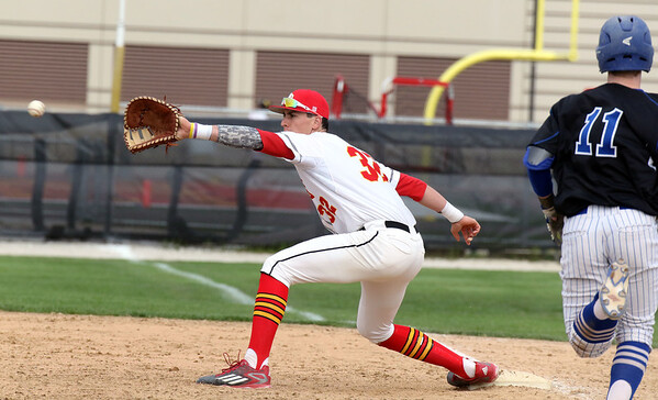 Batavia first baseman Glenn Albanese catches a throw from an infielder during a game against visiting Geneva May 4.