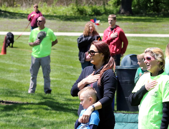 The Pledge of Allegiance during the Loyalty Day Picnic at the Batavia VFW May 7.