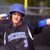 Geneva's Dylan Baer celebrates a leadoff double in the first inning at Batavia May 4.