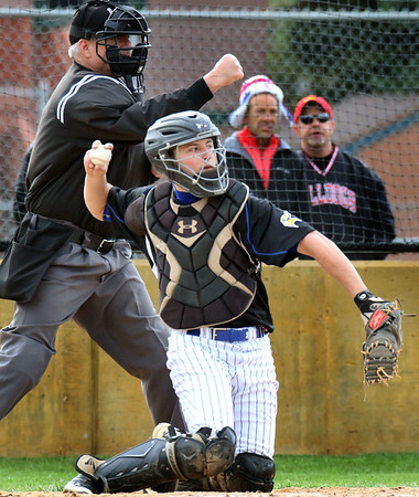 Geneva catcher Josh Rose throws the ball back to the pitcher during a game at Batavia May 4.