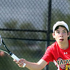 Batavia's Chase Bremner hits a return while competing for the Upstate Eight Conference #2 singles championship at St. Charles East High School May 13.