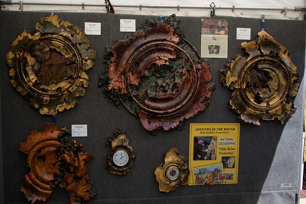Wood and metal art by Dale Robbins on May 27 at the St. Charles Fine Arts Festival in St. Charles.