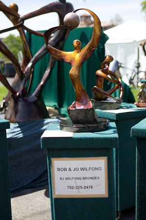Bronze statues by Bob & Jo Wilfong on May 27 at the St. Charles Fine Arts Festival in St. Charles.