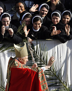 FILE - In this Sunday, April 1, 2007, file photo, Pope Benedict XVI greets pilgrims and faithful during an open-air Palm Sunday Mass celebrated in St. Peter's Square at the Vatican. Declaring that he lacks the strength to do his job, Benedict announced Monday Feb. 11, 2013, he will resign Feb. 28 _ becoming the first pontiff to step down in 600 years. His decision sets the stage for a mid-March conclave to elect a new leader for a Roman Catholic Church in deep turmoil.  (AP Photo/Alessandra Tarantino, File)