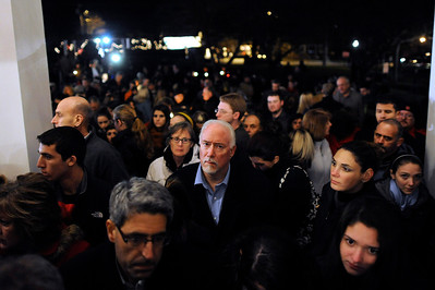 Mourners gather outside a vigil service for victims of the Sandy Hook Elementary School shooting, at the St. Rose of Lima Roman Catholic Church in Newtown, Conn.(AP Photo/Andrew Gombert, Pool)