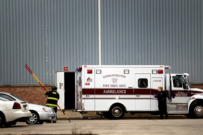 Photo by Jenny Kane - jkane@shawmedia.com Genoa-Kingston Fire Protection District, responds to a gas leak. Seven people were taken to area hospitals Friday morning as a result the gas leak at  Arnold Magnetics Technologies in Marengo.