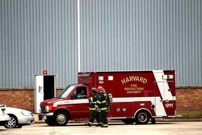 Photo by Jenny Kane - jkane@shawmedia.com Harvard Fire Protection District, responds to a gas leak. Seven people were taken to area hospitals Friday morning as a result of the leak at  Arnold Magnetics Technologies in Marengo.