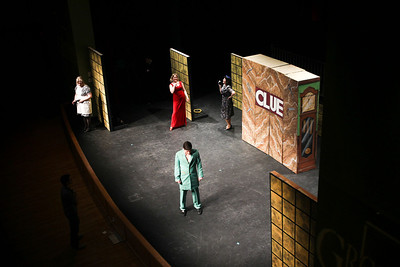 Jenny Kane - jkane@shawmedia.com Director Dave Hunter, (left) directs Mr. Green, played by Jake Cartmell, where on stage to begin his lines during the GreenRoom Productions dress rehearsal of Clue the Musical at the Cosman Center in Huntley.