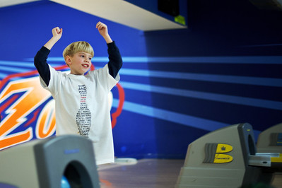 Daniel J. Murphy - dmurphy@shawmedia.com  Gavin Christopherson, 8, of Dundee celebrates knocking down a pin during the  annual Bowl for Kids Sake fundraiser for Big Brothers Big Sister of McHenry County Sunday March 4, 2012 at the Brunswick Zone in Algonquin.